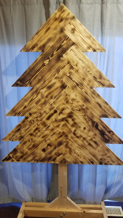 Rustic DIY Christmas Tree with Charred Finish
