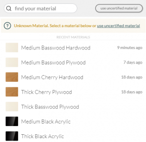 Glowforge Proofgrade Materials List